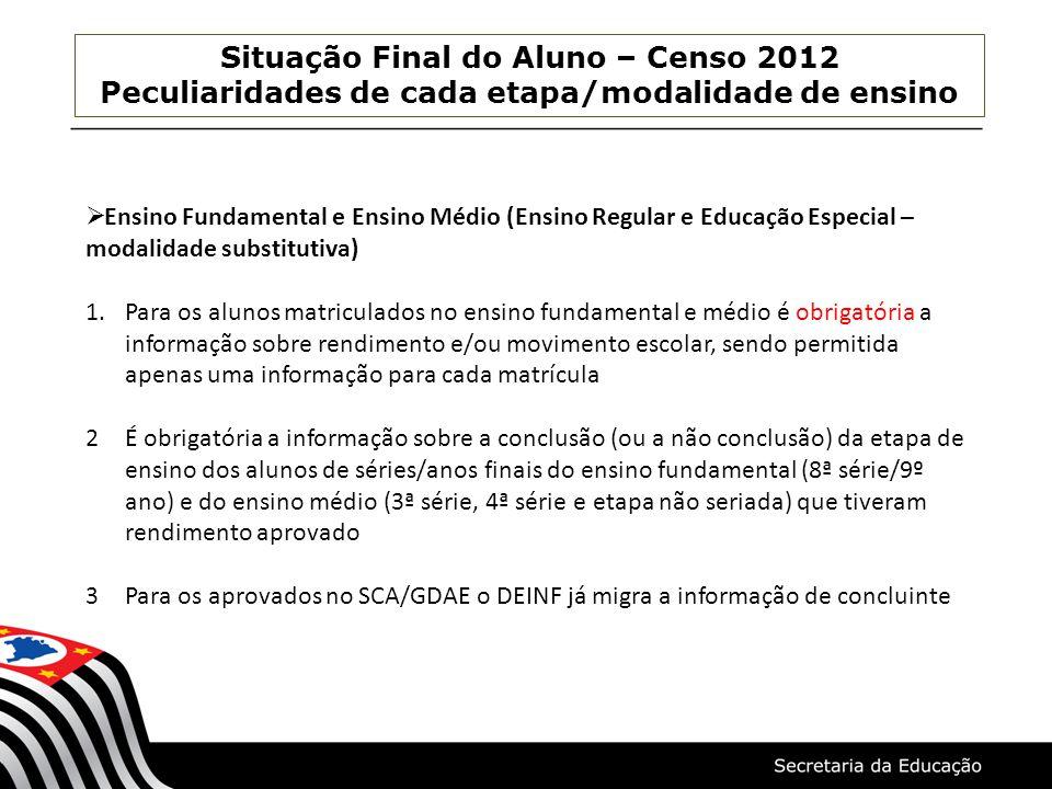 Situação Final do Aluno – Censo 2012 Peculiaridades de cada etapa/modalidade de ensino  Ensino Fundamental e Ensino Médio (Ensino Regular e Educação