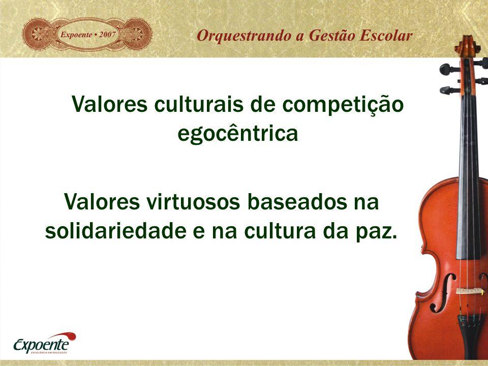 Valores culturais de competição egocêntrica Valores virtuosos baseados na solidariedade e na cultura da paz.