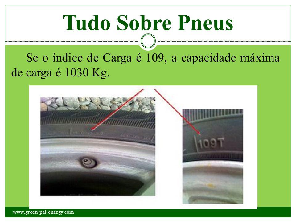 Tudo Sobre Pneus Se o índice de Carga é 109, a capacidade máxima de carga é 1030 Kg. www.green-pai-energy.com