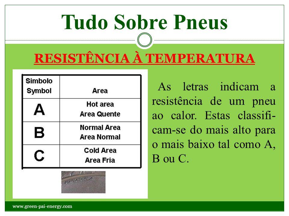 Tudo Sobre Pneus RESISTÊNCIA À TEMPERATURA As letras indicam a resistência de um pneu ao calor. Estas classifi- cam-se do mais alto para o mais baixo