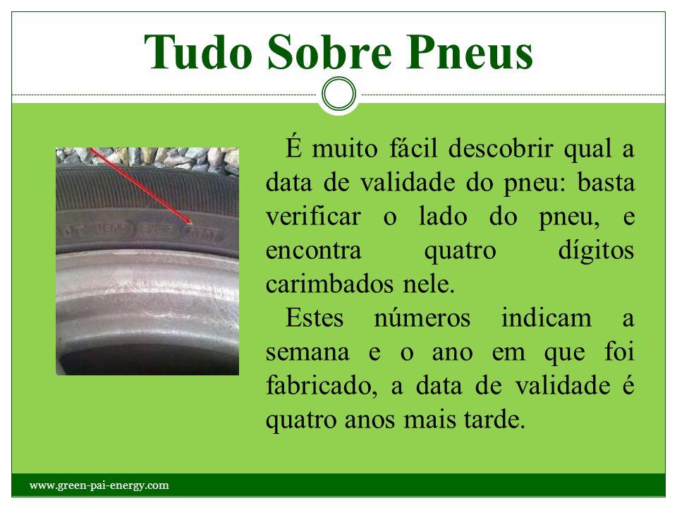 É muito fácil descobrir qual a data de validade do pneu: basta verificar o lado do pneu, e encontra quatro dígitos carimbados nele. Estes números indi