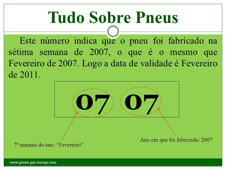 Tudo Sobre Pneus Este número indica que o pneu foi fabricado na sétima semana de 2007, o que é o mesmo que Fevereiro de 2007. Logo a data de validade