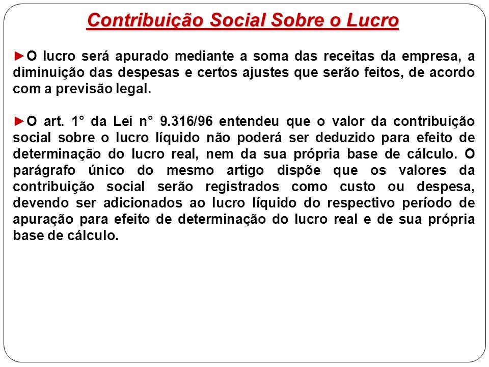 Contribuição Social Sobre o Lucro ►O lucro será apurado mediante a soma das receitas da empresa, a diminuição das despesas e certos ajustes que serão