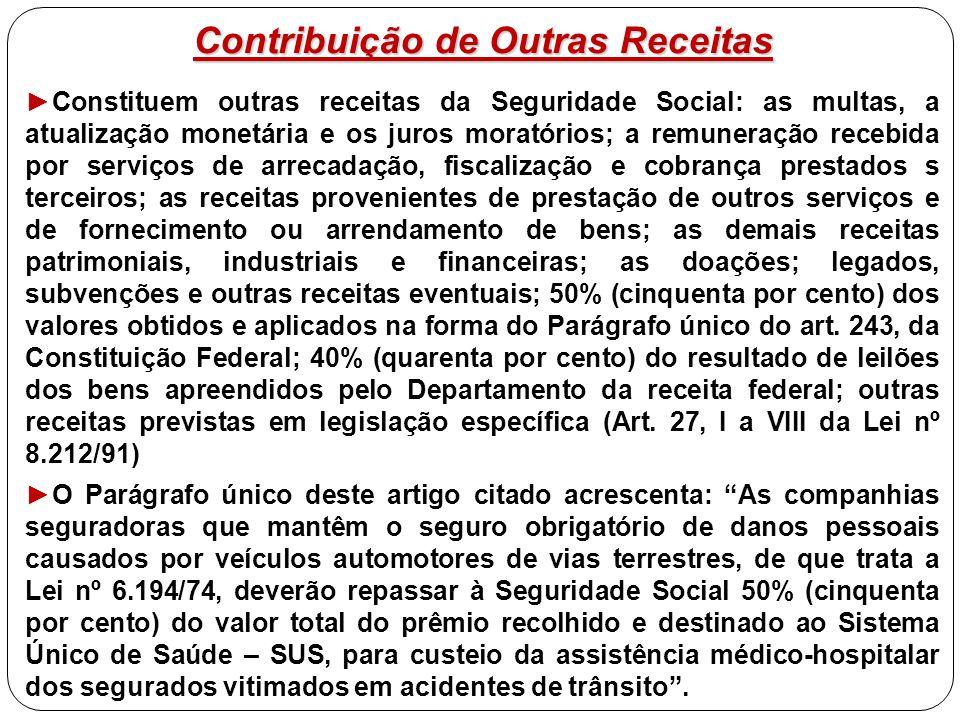 Contribuição de Outras Receitas ►Constituem outras receitas da Seguridade Social: as multas, a atualização monetária e os juros moratórios; a remunera