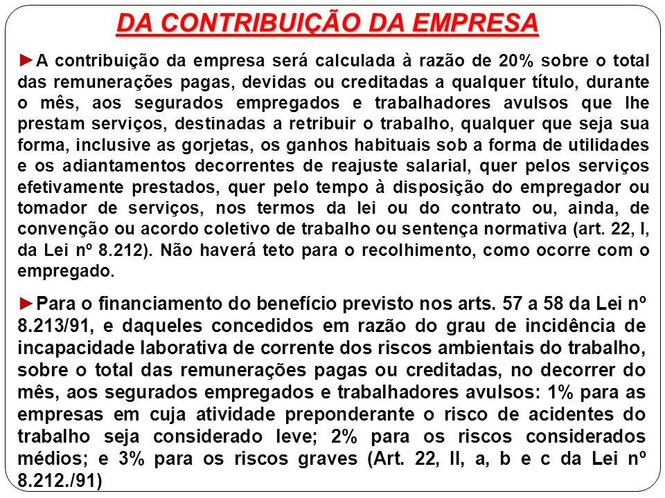 DA CONTRIBUIÇÃO DA EMPRESA ► A contribuição da empresa será calculada à razão de 20% sobre o total das remunerações pagas, devidas ou creditadas a qua
