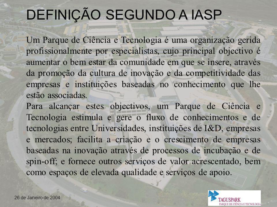 26 de Janeiro de 2004 A HISTÓRIA DO TAGUSPARK - A INICIATIVA - PARCEIROS - O DESENVOLVIMENTO