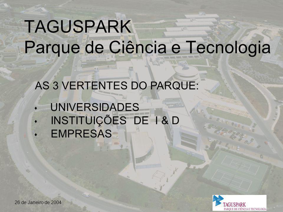 26 de Janeiro de 2004 UNIVERSIDADES n UTL - Universidade Técnica de Lisboa (em fase de instalação) n IST - Instituto Superior Técnico n UA - Universidade Atlântica n UCP - Universidade Católica (junto ao Taguspark)