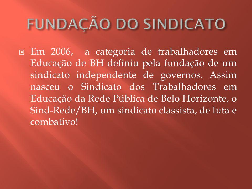  Em 2006, a categoria de trabalhadores em Educação de BH definiu pela fundação de um sindicato independente de governos.