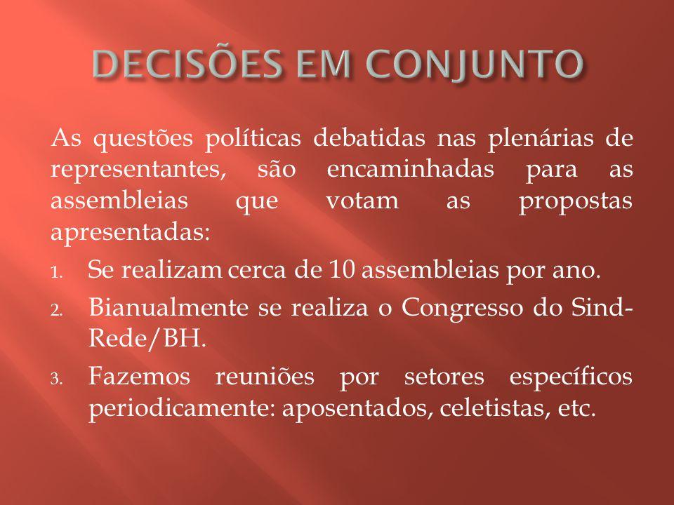 As questões políticas debatidas nas plenárias de representantes, são encaminhadas para as assembleias que votam as propostas apresentadas: 1.