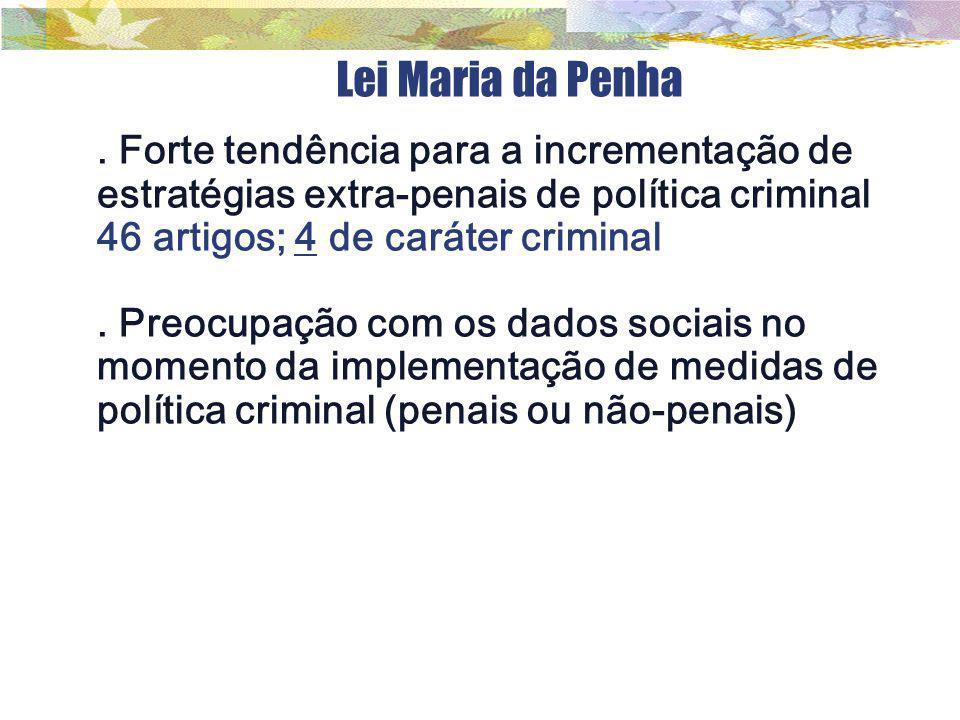 Lei Maria da Penha. Forte tendência para a incrementação de estratégias extra-penais de política criminal 46 artigos; 4 de caráter criminal. Preocupaç