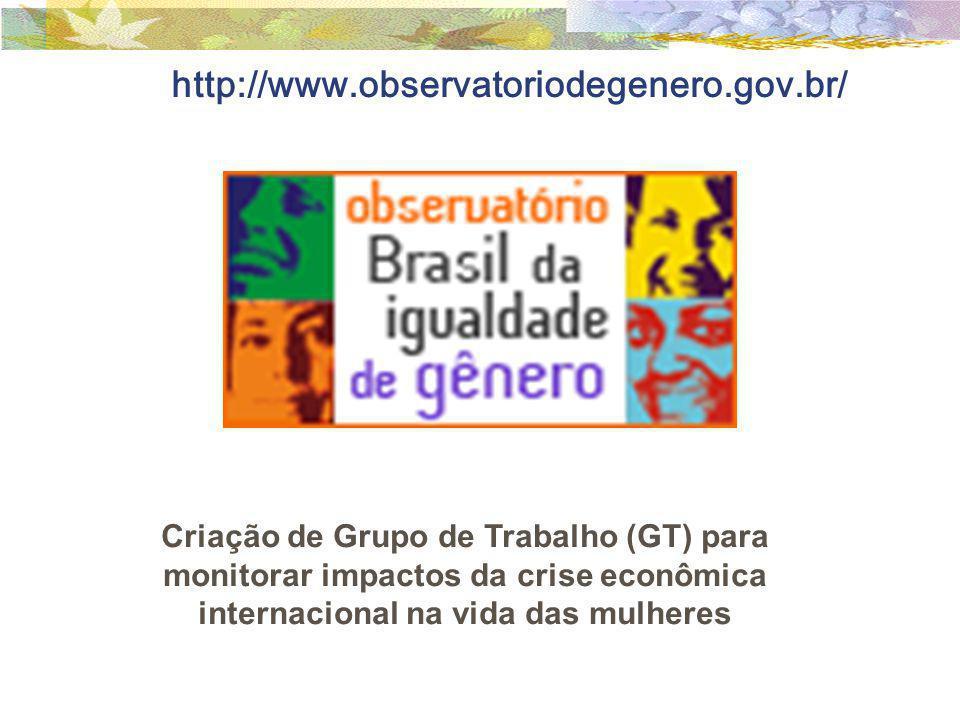 http://www.observatoriodegenero.gov.br/ Criação de Grupo de Trabalho (GT) para monitorar impactos da crise econômica internacional na vida das mulhere
