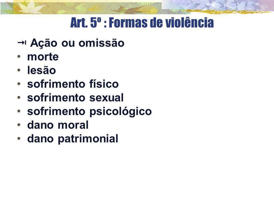 Art. 5º : Formas de violência  Ação ou omissão morte lesão sofrimento físico sofrimento sexual sofrimento psicológico dano moral dano patrimonial