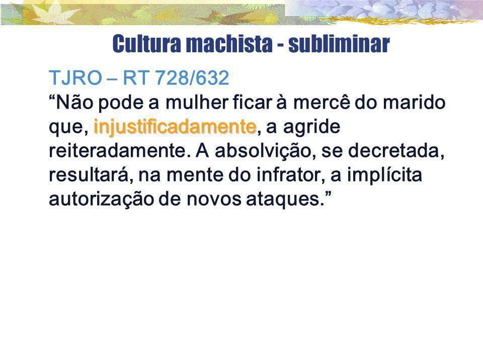 """Cultura machista - subliminar TJRO – RT 728/632 injustificadamente """"Não pode a mulher ficar à mercê do marido que, injustificadamente, a agride reiter"""