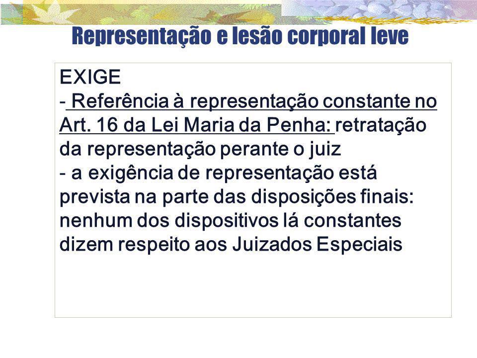 Representação e lesão corporal leve EXIGE - Referência à representação constante no Art. 16 da Lei Maria da Penha: retratação da representação perante