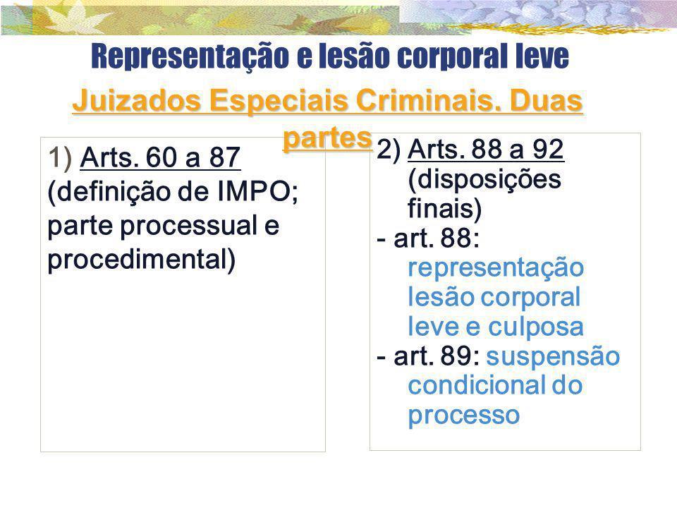 Representação e lesão corporal leve 1) Arts. 60 a 87 (definição de IMPO; parte processual e procedimental) 2)Arts. 88 a 92 (disposições finais) - art.