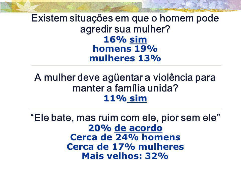 Existem situações em que o homem pode agredir sua mulher? 16% sim homens 19% mulheres 13% A mulher deve agüentar a violência para manter a família uni