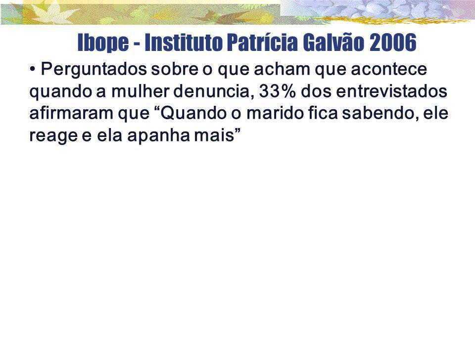 """Ibope - Instituto Patrícia Galvão 2006 Perguntados sobre o que acham que acontece quando a mulher denuncia, 33% dos entrevistados afirmaram que """"Quand"""
