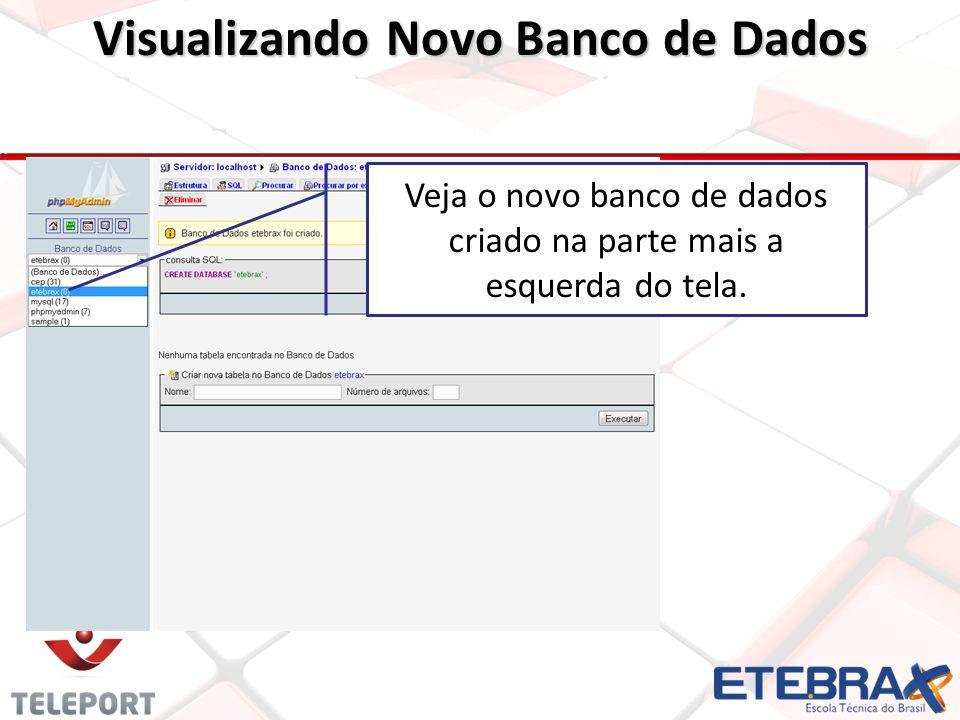 Visualizando Novo Banco de Dados Veja o novo banco de dados criado na parte mais a esquerda do tela.