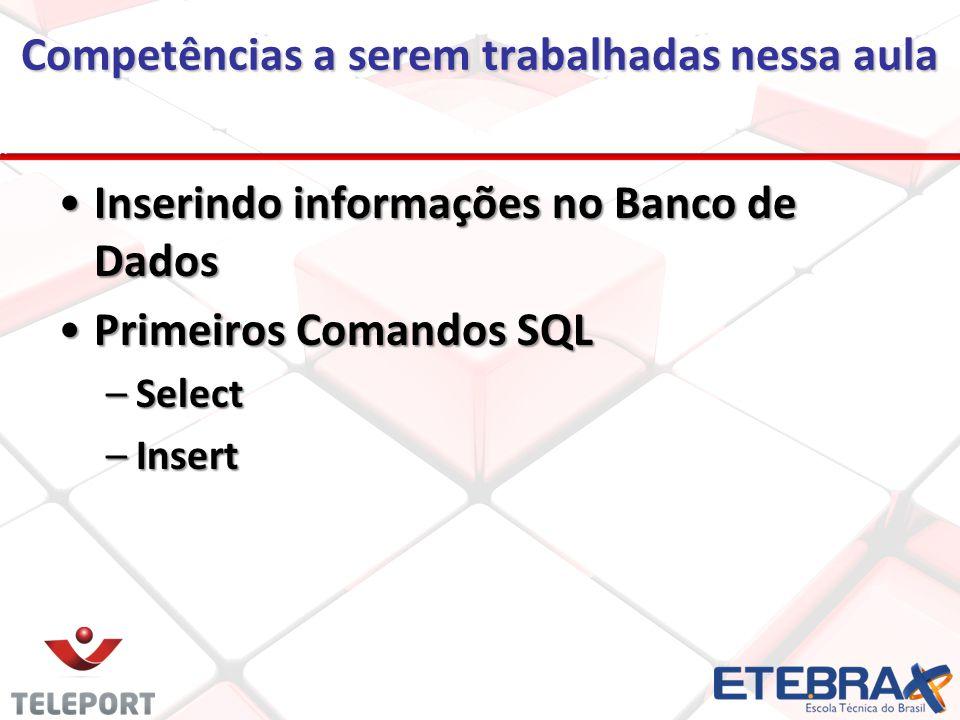 Competências a serem trabalhadas nessa aula Inserindo informações no Banco de DadosInserindo informações no Banco de Dados Primeiros Comandos SQLPrimeiros Comandos SQL –Select –Insert