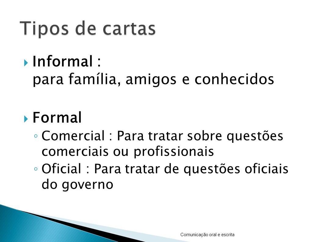  Informal : para família, amigos e conhecidos  Formal ◦ Comercial : Para tratar sobre questões comerciais ou profissionais ◦ Oficial : Para tratar d