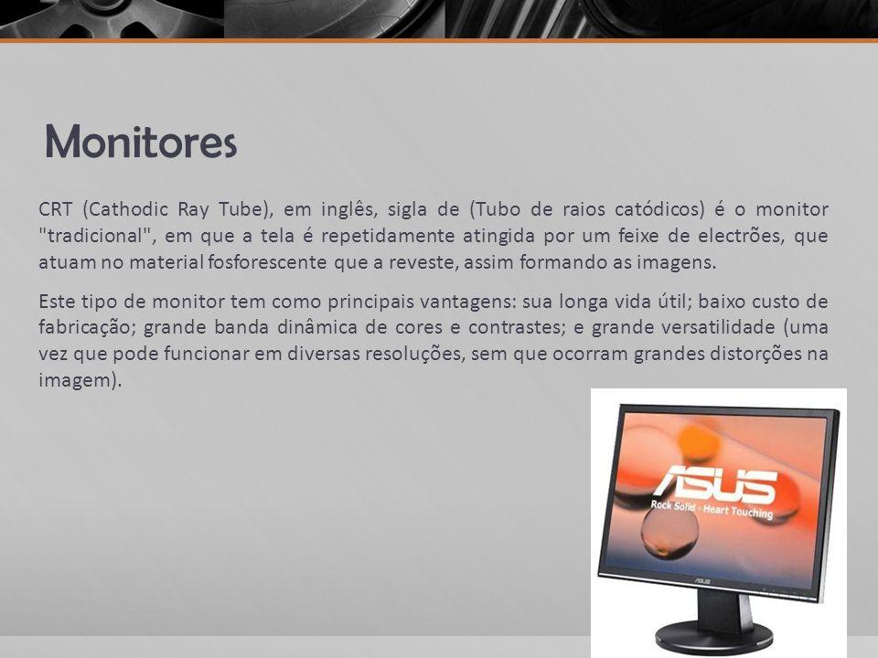 Monitores CRT (Cathodic Ray Tube), em inglês, sigla de (Tubo de raios catódicos) é o monitor