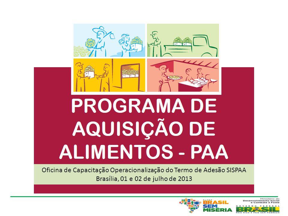 Oficina de Capacitação Operacionalização do Termo de Adesão SISPAA Brasília, 01 e 02 de julho de 2013