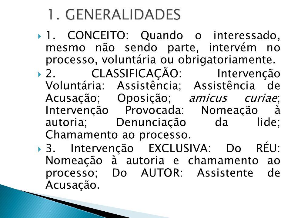  1. CONCEITO: Quando o interessado, mesmo não sendo parte, intervém no processo, voluntária ou obrigatoriamente.  2. CLASSIFICAÇÃO: Intervenção Volu