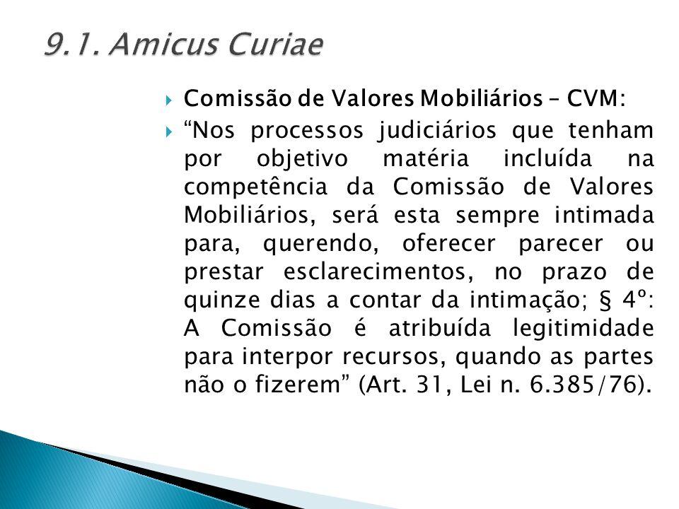 """ Comissão de Valores Mobiliários – CVM:  """"Nos processos judiciários que tenham por objetivo matéria incluída na competência da Comissão de Valores M"""