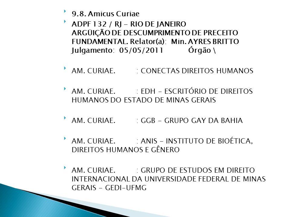 9.8. Amicus Curiae ADPF 132 / RJ - RIO DE JANEIRO ARGÜIÇÃO DE DESCUMPRIMENTO DE PRECEITO FUNDAMENTAL. Relator(a): Min. AYRES BRITTO Julgamento: 05/0