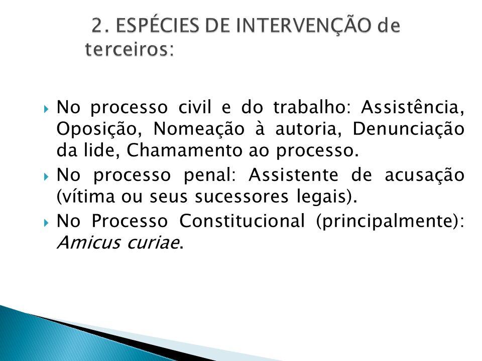  No processo civil e do trabalho: Assistência, Oposição, Nomeação à autoria, Denunciação da lide, Chamamento ao processo.  No processo penal: Assist