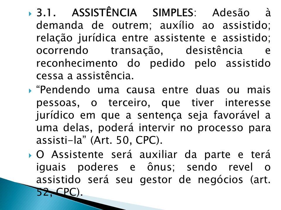  3.1. ASSISTÊNCIA SIMPLES: Adesão à demanda de outrem; auxílio ao assistido; relação jurídica entre assistente e assistido; ocorrendo transação, desi