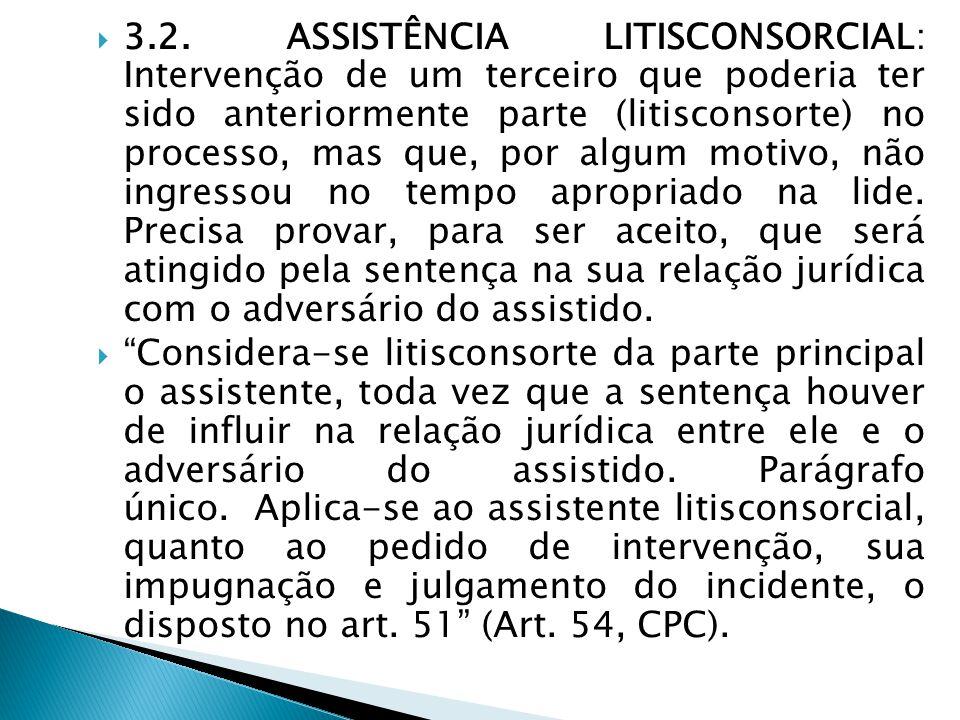  3.2. ASSISTÊNCIA LITISCONSORCIAL: Intervenção de um terceiro que poderia ter sido anteriormente parte (litisconsorte) no processo, mas que, por algu