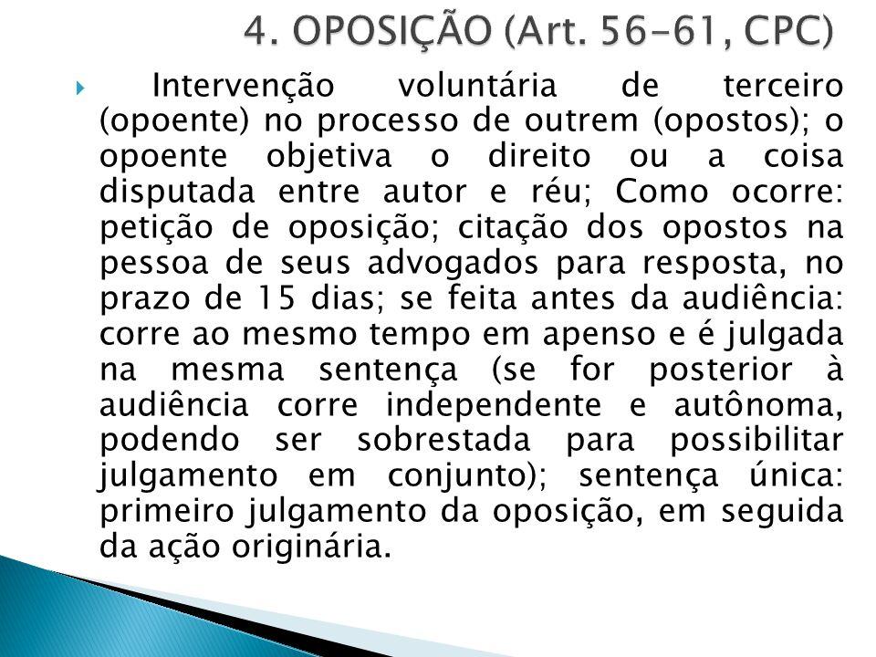  Intervenção voluntária de terceiro (opoente) no processo de outrem (opostos); o opoente objetiva o direito ou a coisa disputada entre autor e réu; C