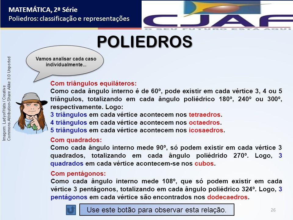 26 MATEMÁTICA, 2ª Série Poliedros: classificação e representações POLIEDROS Vamos analisar cada caso individualmente... Com triângulos equiláteros: Co