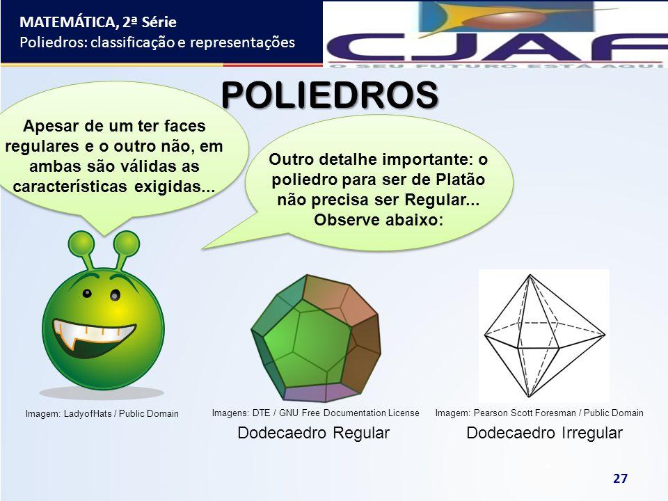 MATEMÁTICA, 2ª Série Poliedros: classificação e representações 27 POLIEDROS Outro detalhe importante: o poliedro para ser de Platão não precisa ser Re