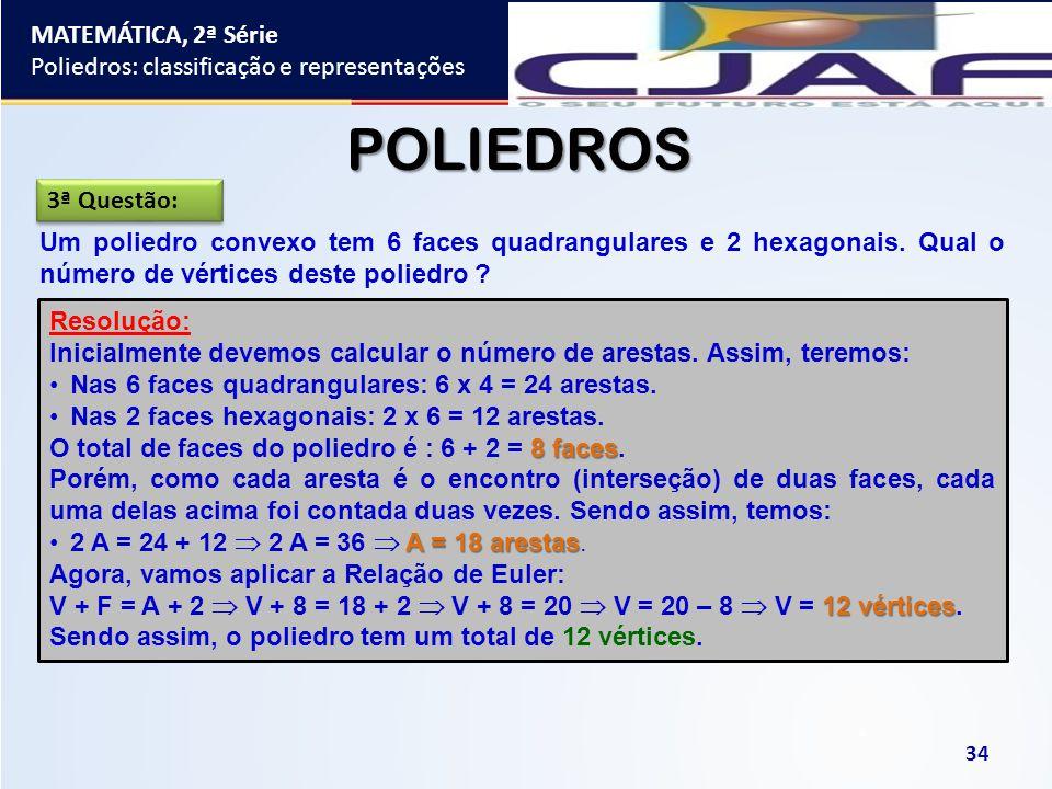 MATEMÁTICA, 2ª Série Poliedros: classificação e representações 34 POLIEDROS Um poliedro convexo tem 6 faces quadrangulares e 2 hexagonais. Qual o núme