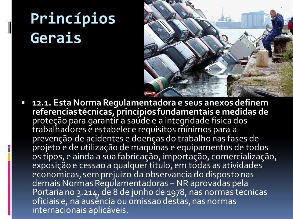 Princípios Gerais  12.1. Esta Norma Regulamentadora e seus anexos definem referencias técnicas, princípios fundamentais e medidas de proteção para ga
