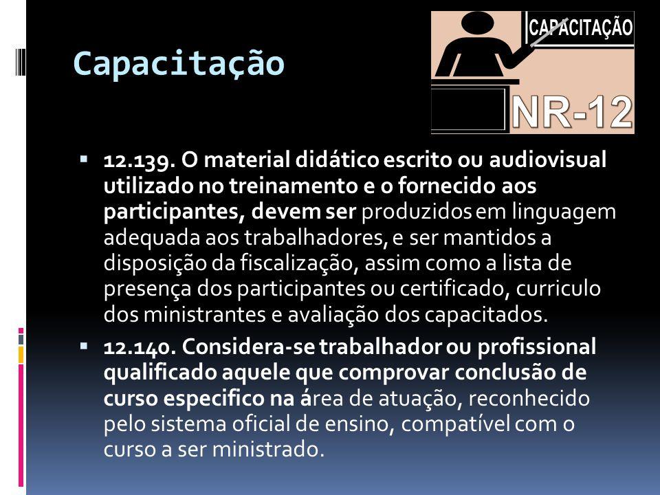 Capacitação  12.139. O material didático escrito ou audiovisual utilizado no treinamento e o fornecido aos participantes, devem ser produzidos em lin