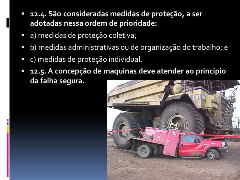  12.4. São consideradas medidas de proteção, a ser adotadas nessa ordem de prioridade:  a) medidas de proteção coletiva;  b) medidas administrativa