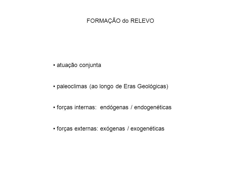 FORMAÇÃO do RELEVO atuação conjunta paleoclimas (ao longo de Eras Geológicas) forças internas: endógenas / endogenéticas forças externas: exógenas / e