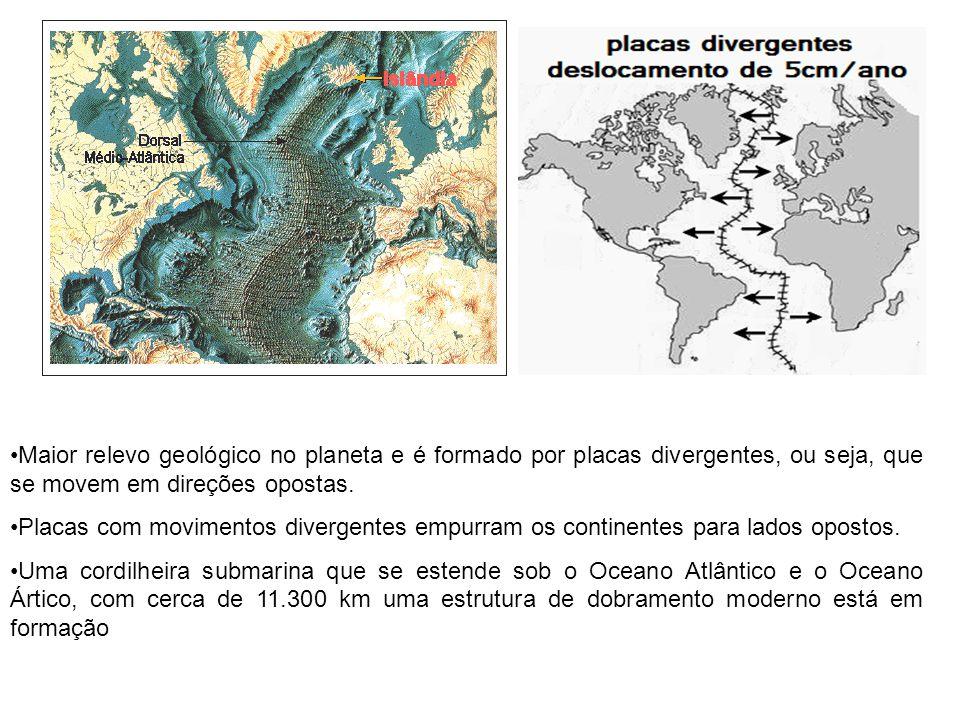 Maior relevo geológico no planeta e é formado por placas divergentes, ou seja, que se movem em direções opostas. Placas com movimentos divergentes emp