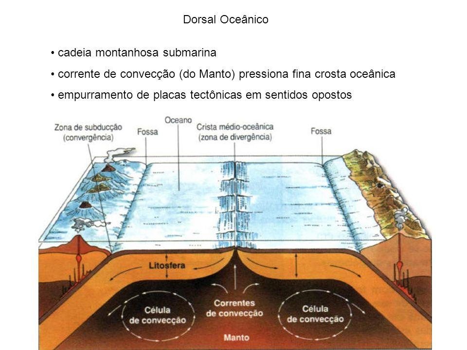 Dorsal Oceânico cadeia montanhosa submarina corrente de convecção (do Manto) pressiona fina crosta oceânica empurramento de placas tectônicas em senti