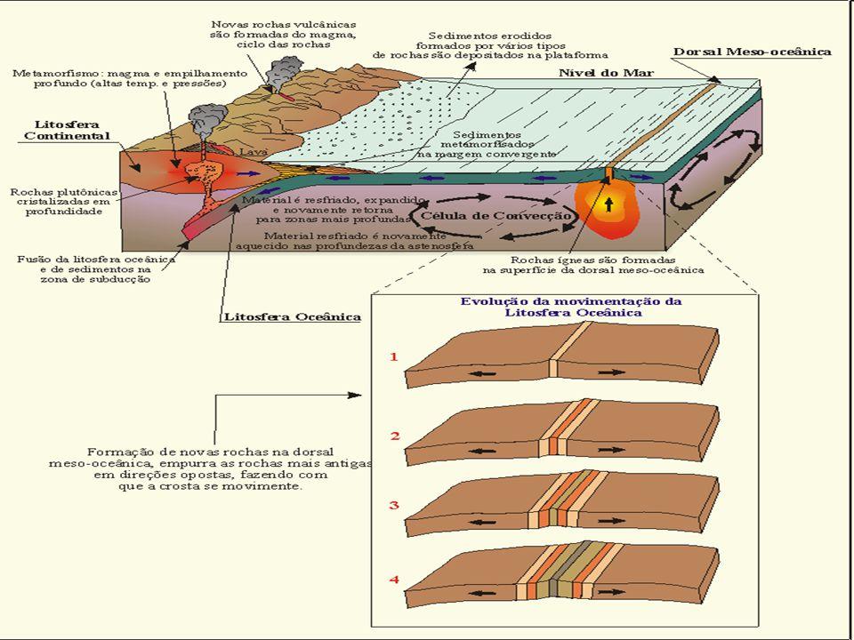 Círculos do Fogo encontro de placas tectônicos relevos instável áreas vulcânicas terremotos frequentes fissuras na crosta maioria oceânica (crosta fina) destaque Anel do Fogo do Oceano Pacífico