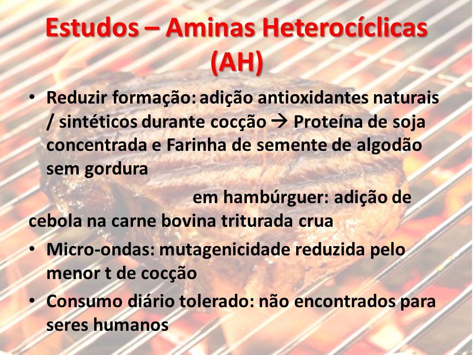 Estudos – Aminas Heterocíclicas (AH) Reduzir formação: adição antioxidantes naturais / sintéticos durante cocção  Proteína de soja concentrada e Fari