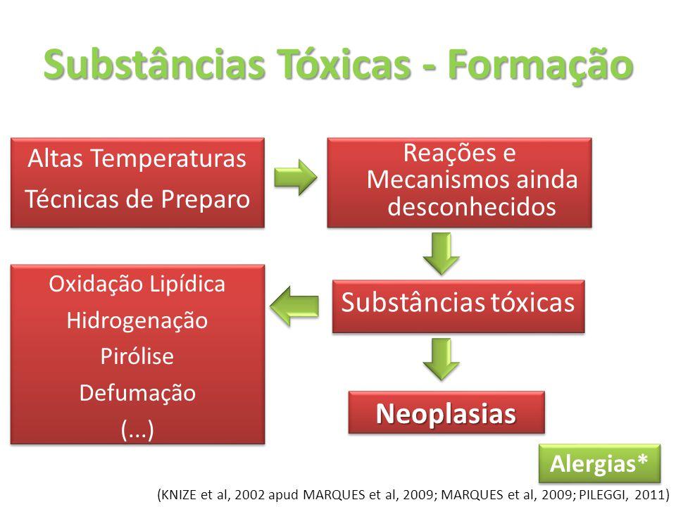 Substâncias Tóxicas - Formação Substâncias tóxicas Altas Temperaturas Técnicas de Preparo Altas Temperaturas Técnicas de Preparo NeoplasiasNeoplasias