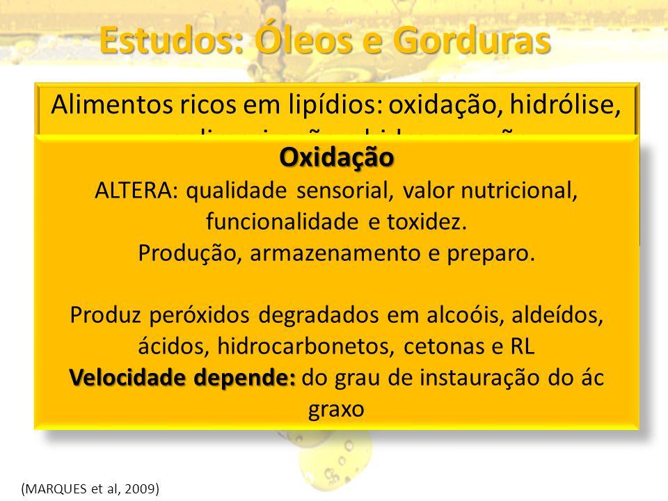 Estudos: Óleos e Gorduras Alimentos ricos em lipídios: oxidação, hidrólise, polimerização e hidrogenação Diversos produtos formados como: peróxidos, R