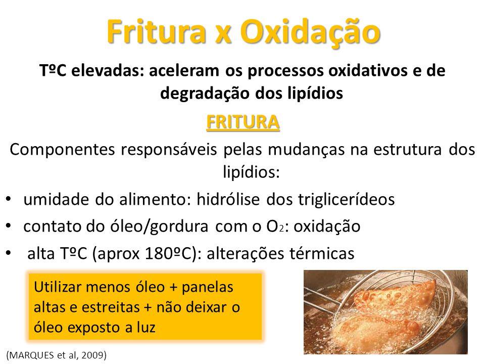 Fritura x Oxidação TºC elevadas: aceleram os processos oxidativos e de degradação dos lipídiosFRITURA Componentes responsáveis pelas mudanças na estru