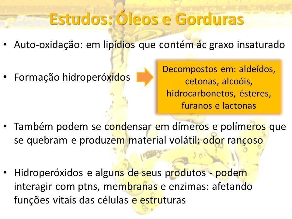 Estudos: Óleos e Gorduras Auto-oxidação: em lipídios que contém ác graxo insaturado Formação hidroperóxidos Também podem se condensar em dímeros e pol