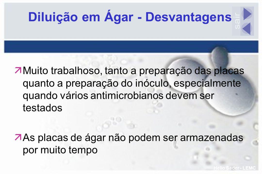 Diluição em Ágar - Desvantagens äMuito trabalhoso, tanto a preparação das placas quanto a preparação do inóculo, especialmente quando vários antimicro