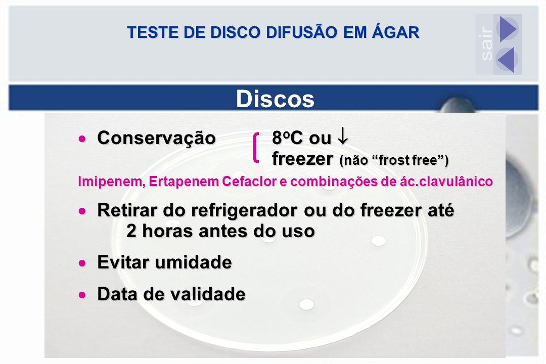 """TESTE DE DISCO DIFUSÃO EM ÁGAR Discos  Conservação8 o C ou  freezer (não """"frost free"""") Imipenem, Ertapenem Cefaclor e combinações de ác.clavulânico"""